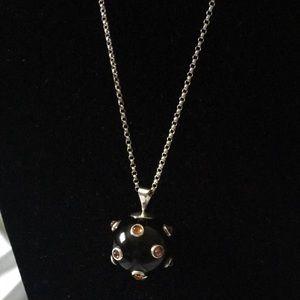 Jewelry - Vintage Sterling Necklace & Onyx Gemstones Pendant